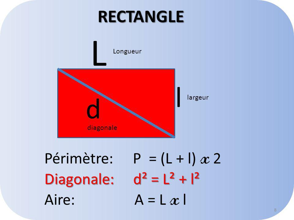 L l d RECTANGLE Périmètre: P = (L + l) x 2 Diagonale: d² = L² + l²