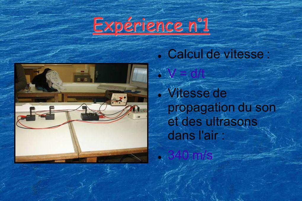 Expérience n°1 Calcul de vitesse : V = d/t