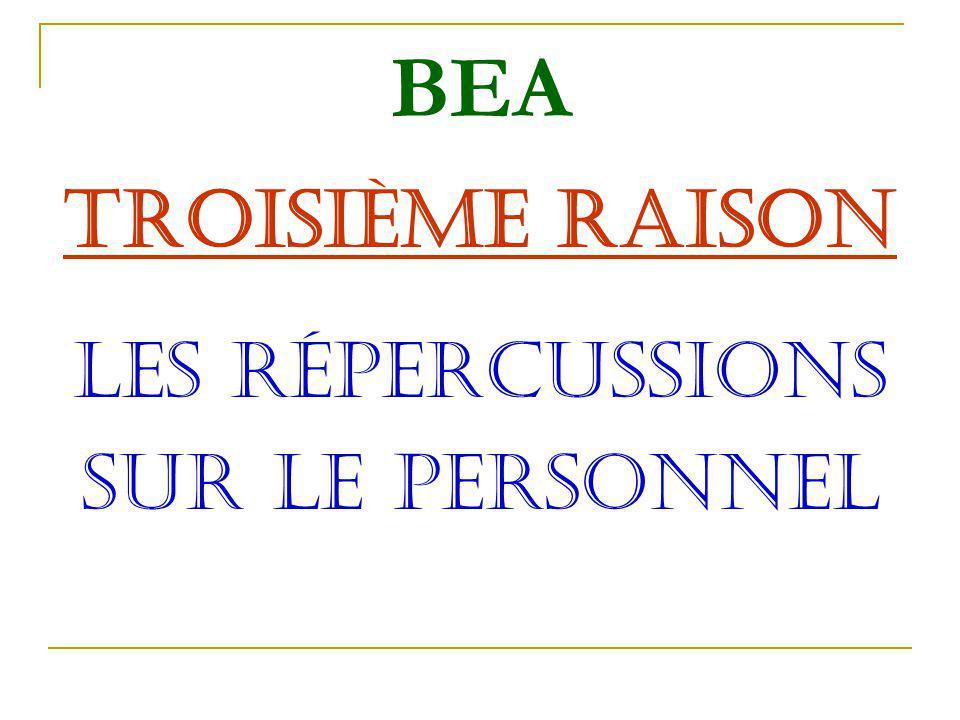 BEA TROISIèME RAISON LES RéPERCUSSIONS SUR LE PERSONNEL