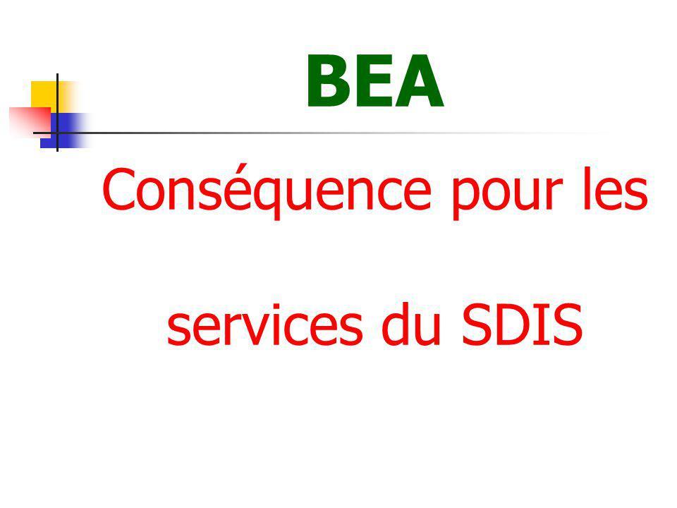BEA Conséquence pour les services du SDIS