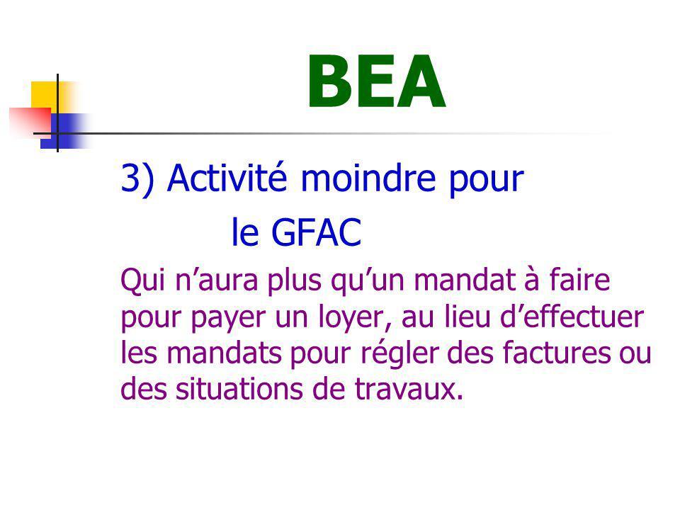 BEA le GFAC 3) Activité moindre pour