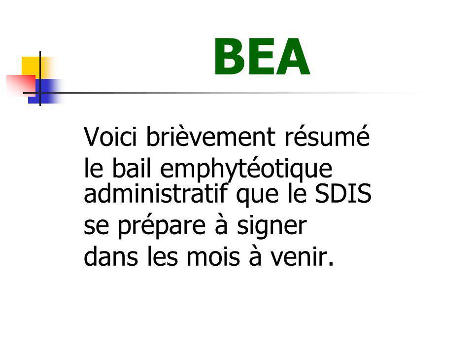 BEA le bail emphytéotique administratif que le SDIS