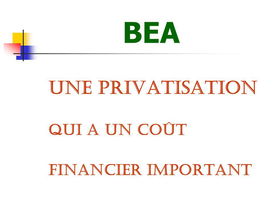 BEA UNE PRIVATISATION QUI A UN COÛT FINANCIER IMPORTANT