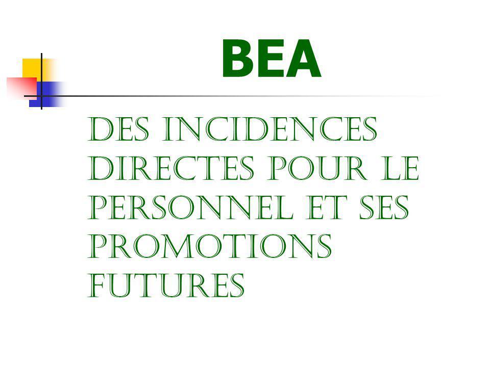 BEA DES INCIDENCES DIRECTES POUR LE PERSONNEL ET SES PROMOTIONS FUTURES