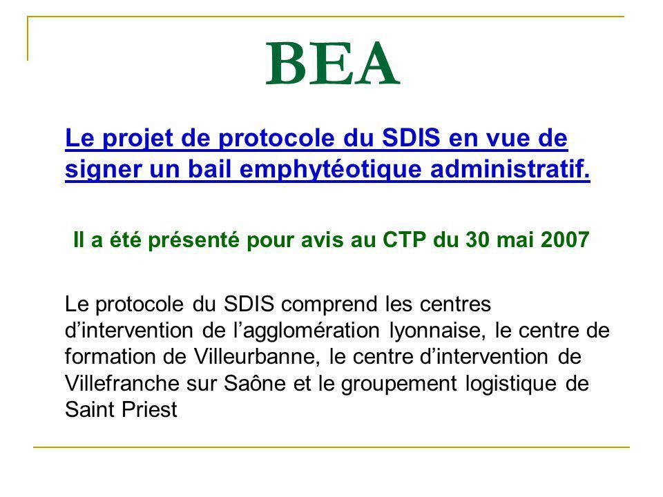 Il a été présenté pour avis au CTP du 30 mai 2007