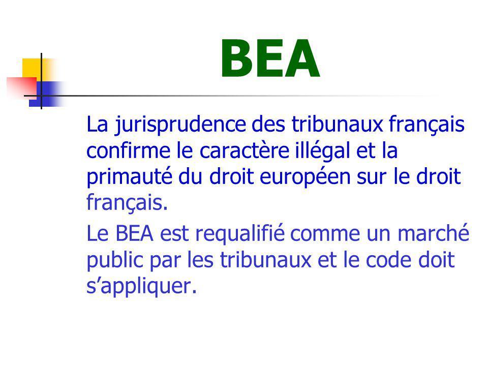 BEA La jurisprudence des tribunaux français confirme le caractère illégal et la primauté du droit européen sur le droit français.
