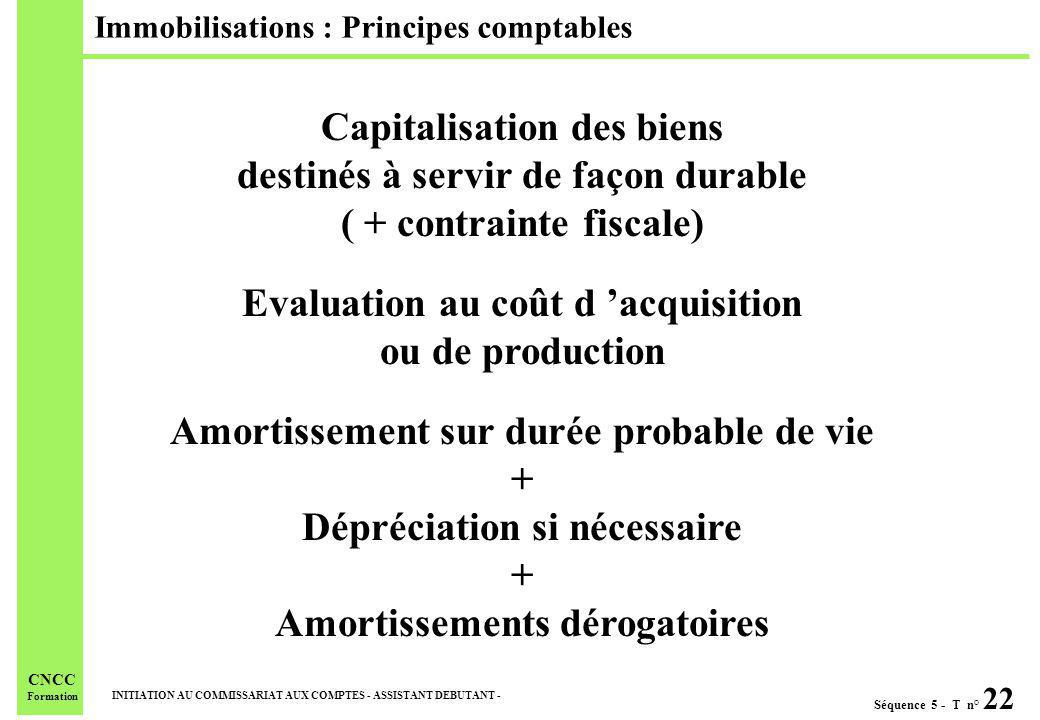 Immobilisations : Principes comptables