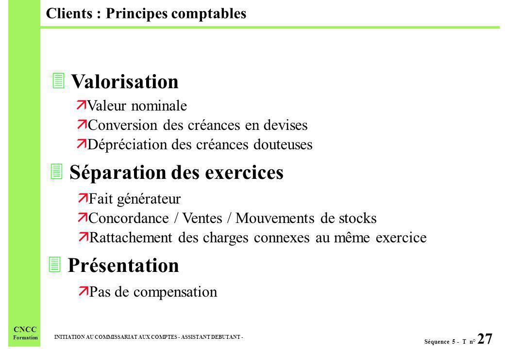 Clients : Principes comptables