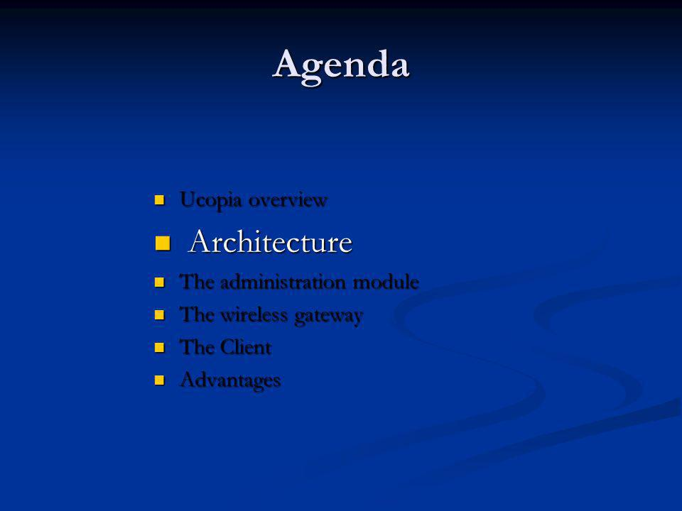 Agenda Architecture Ucopia overview The administration module