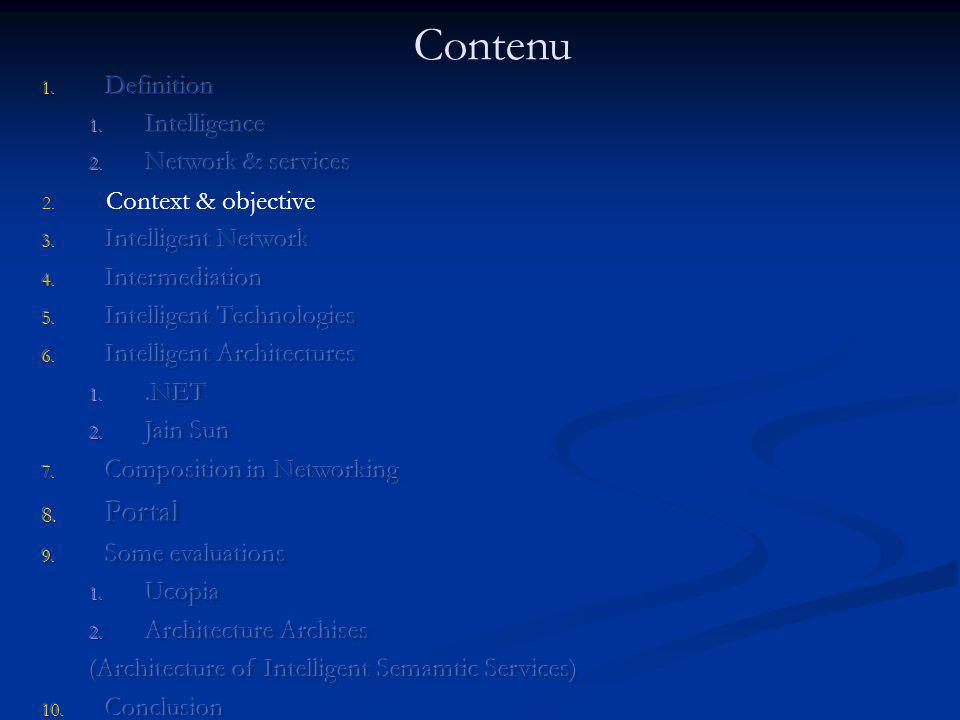 Contenu Portal Definition Intelligence Network & services