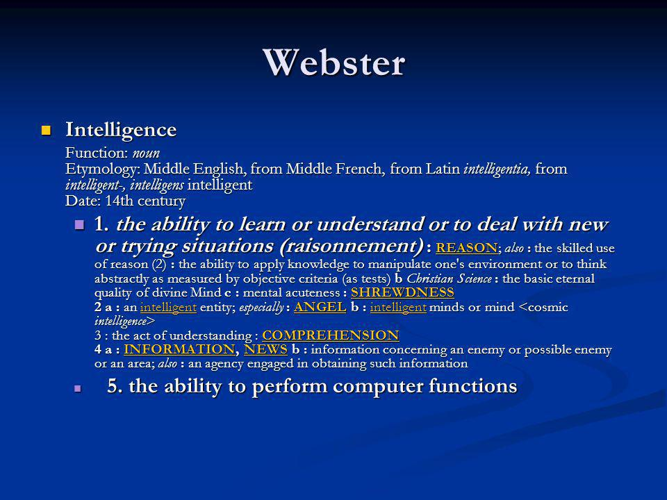 Webster Intelligence.