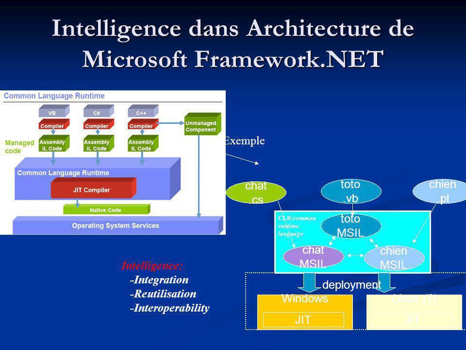 Intelligence dans Architecture de Microsoft Framework.NET
