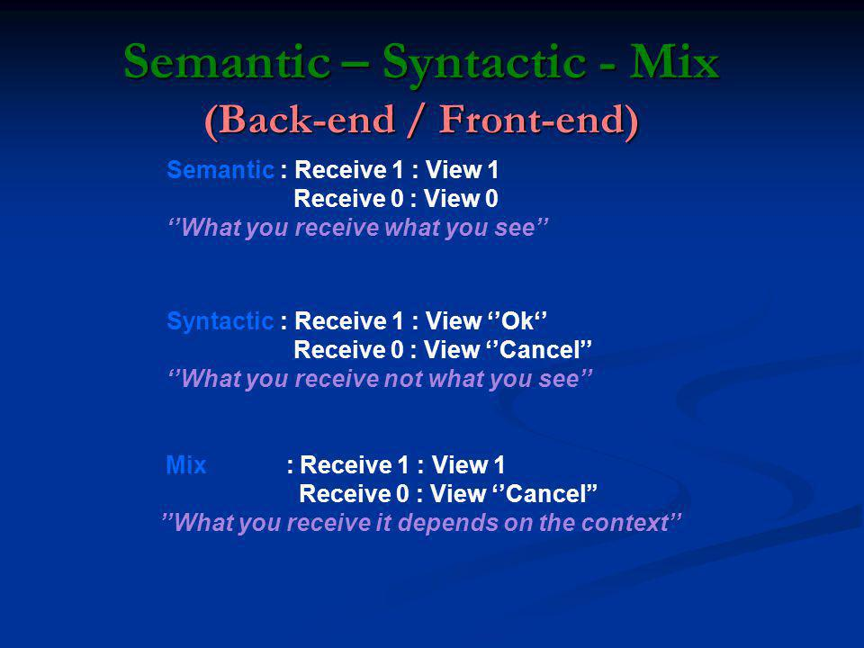 Semantic – Syntactic - Mix (Back-end / Front-end)
