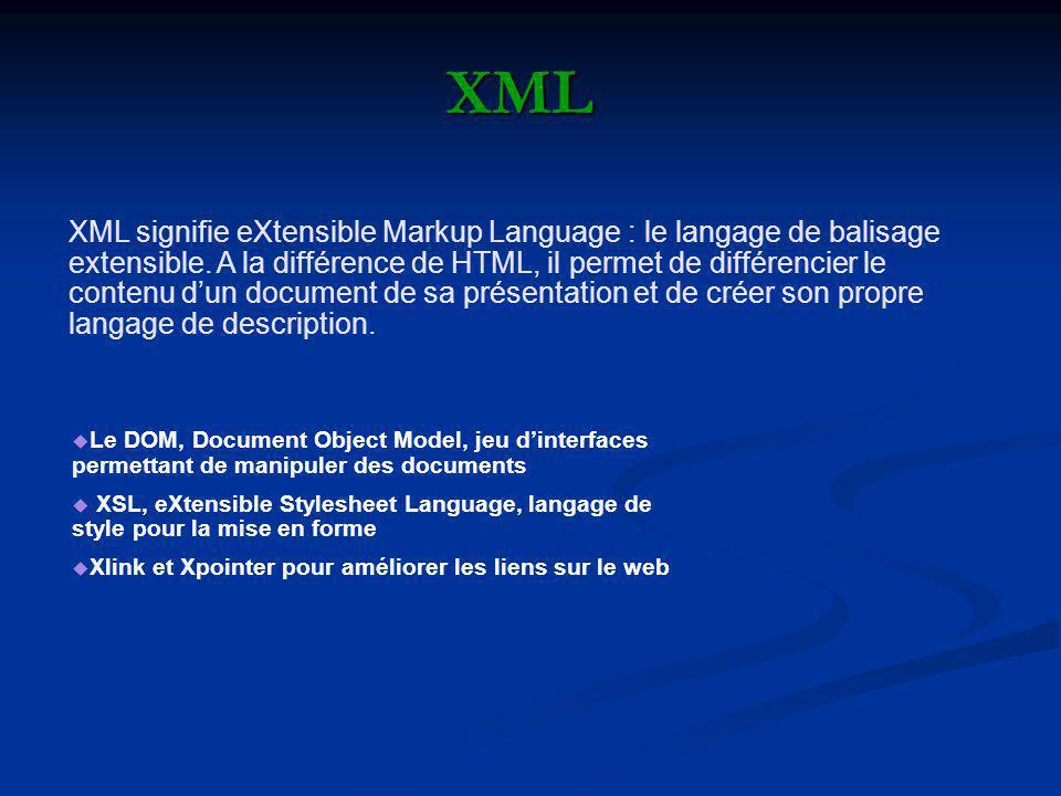 XML XML signifie eXtensible Markup Language : le langage de balisage