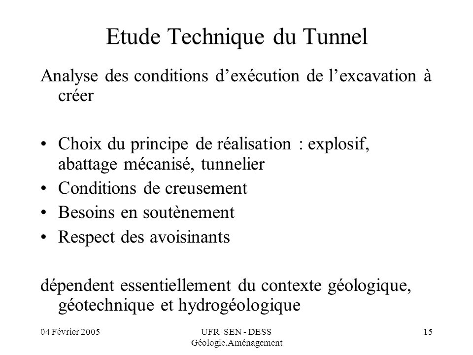 Etude Technique du Tunnel