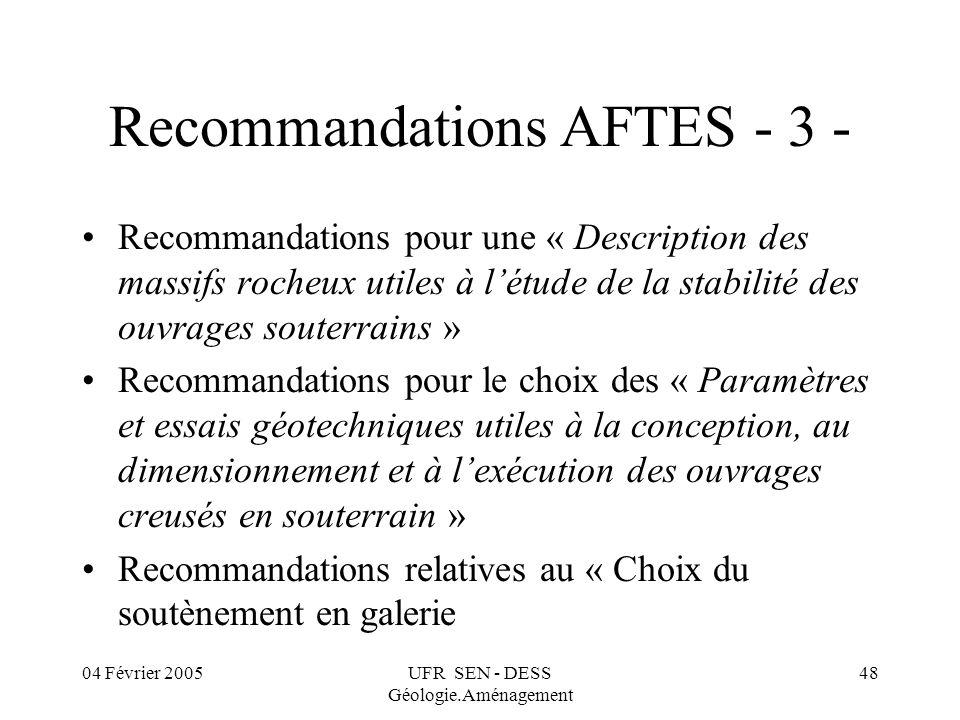 Recommandations AFTES - 3 -