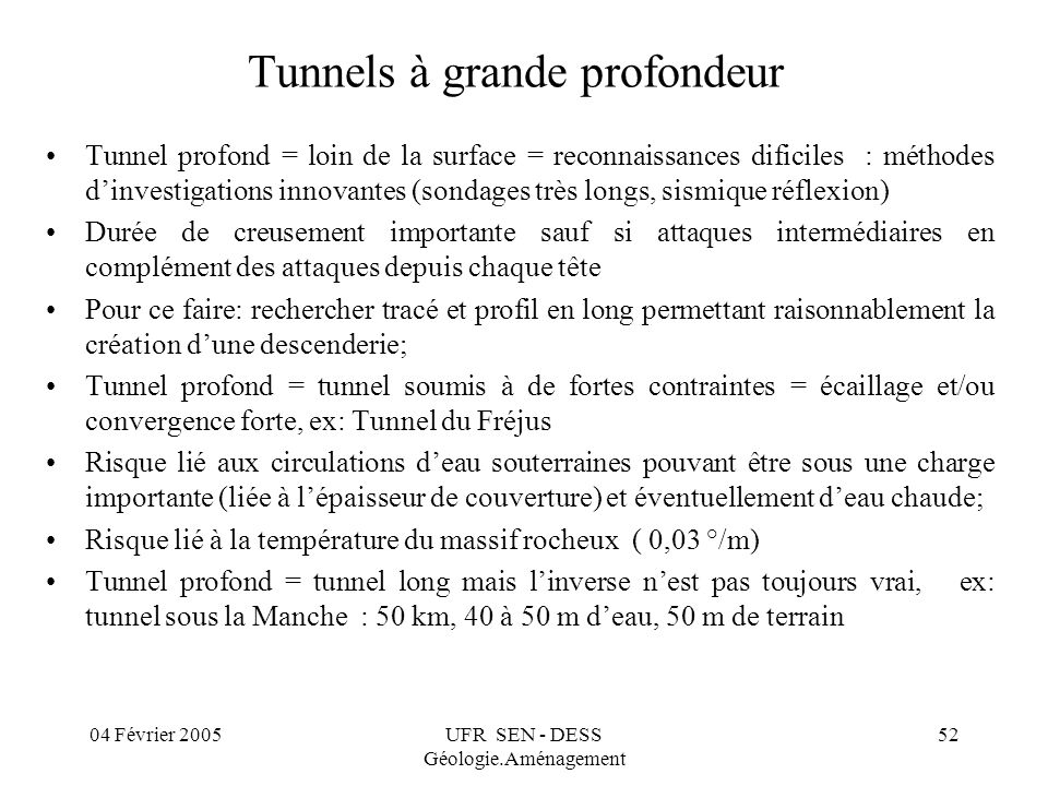 Tunnels à grande profondeur