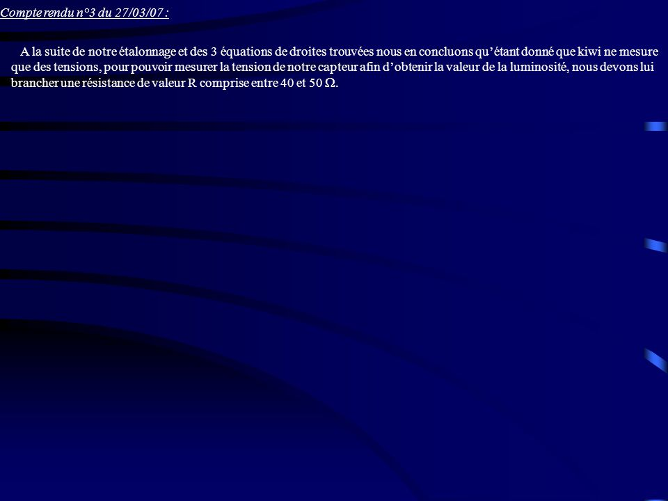 Compte rendu n°3 du 27/03/07 :