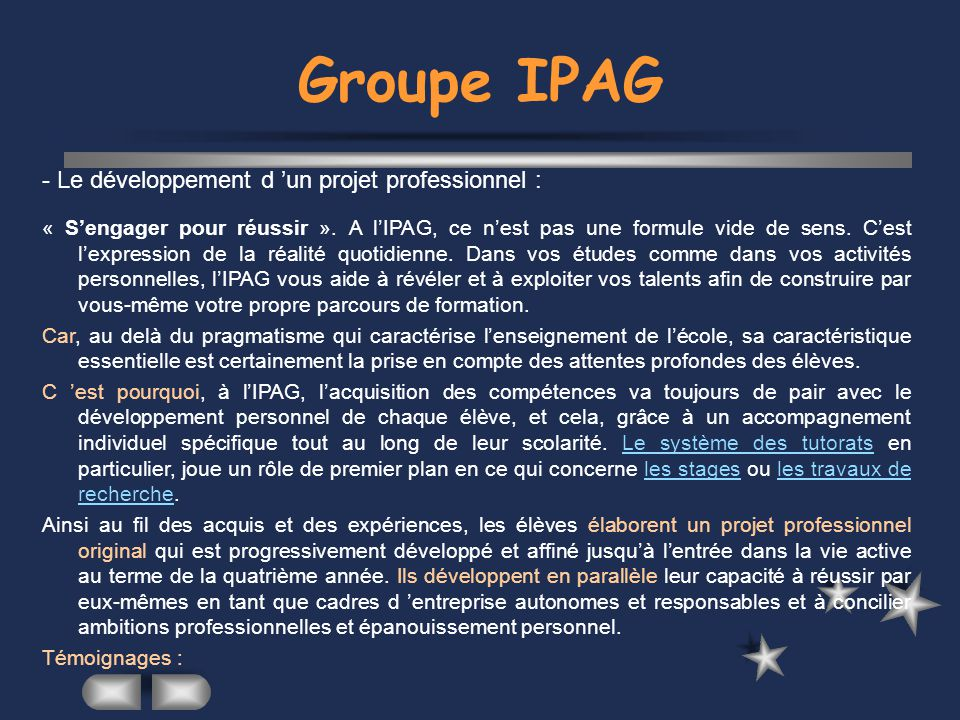 Groupe IPAG - Le développement d 'un projet professionnel :