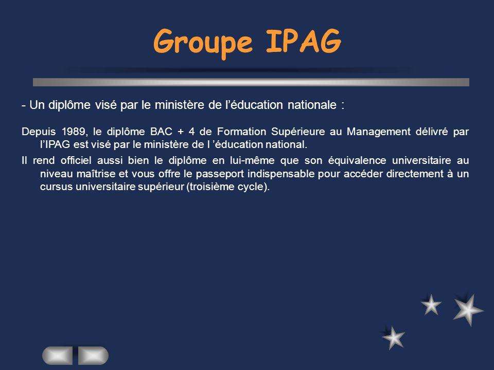 Groupe IPAG - Un diplôme visé par le ministère de l'éducation nationale :