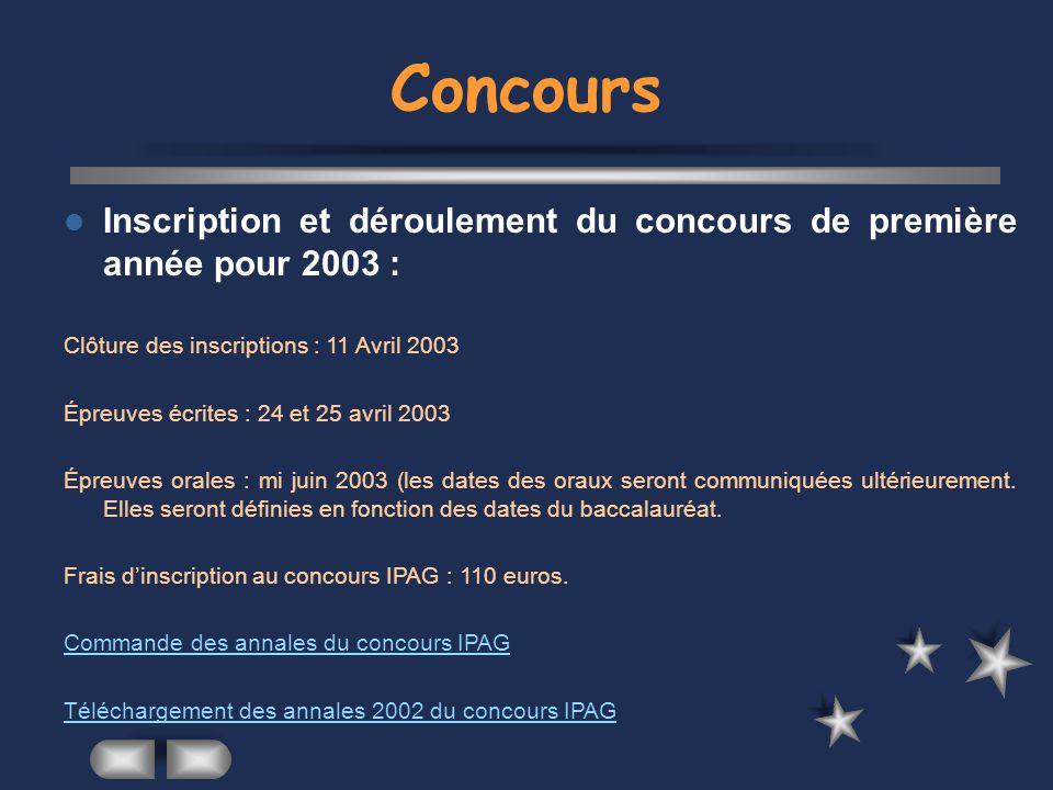 Concours Inscription et déroulement du concours de première année pour 2003 : Clôture des inscriptions : 11 Avril 2003.