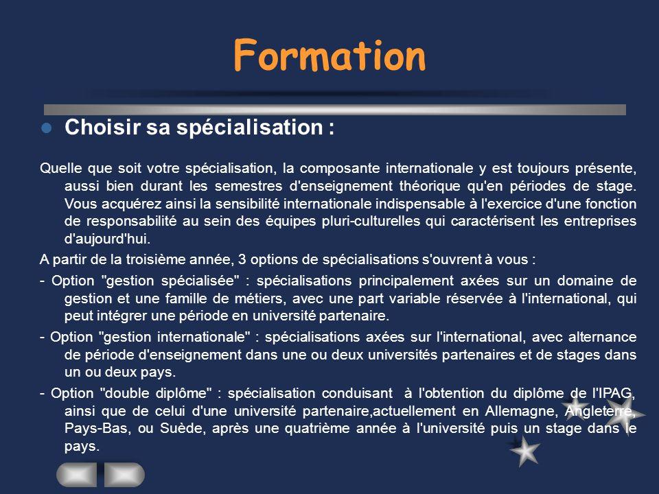 Formation Choisir sa spécialisation :