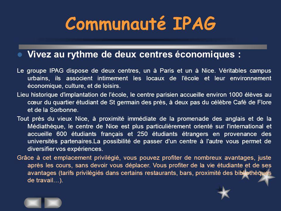 Communauté IPAG Vivez au rythme de deux centres économiques :