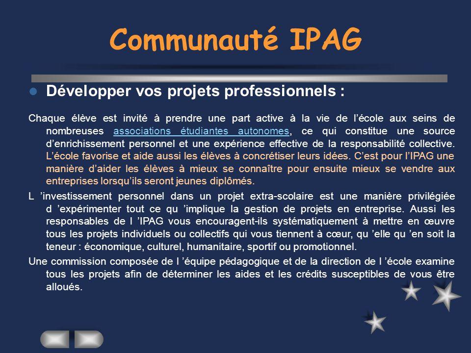 Communauté IPAG Développer vos projets professionnels :