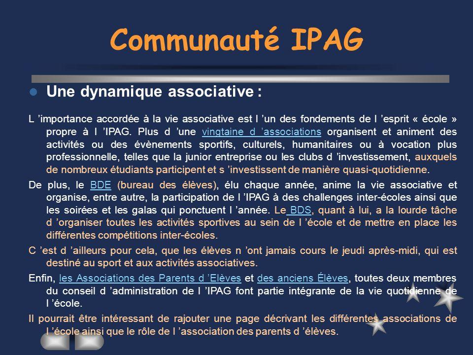 Communauté IPAG Une dynamique associative :