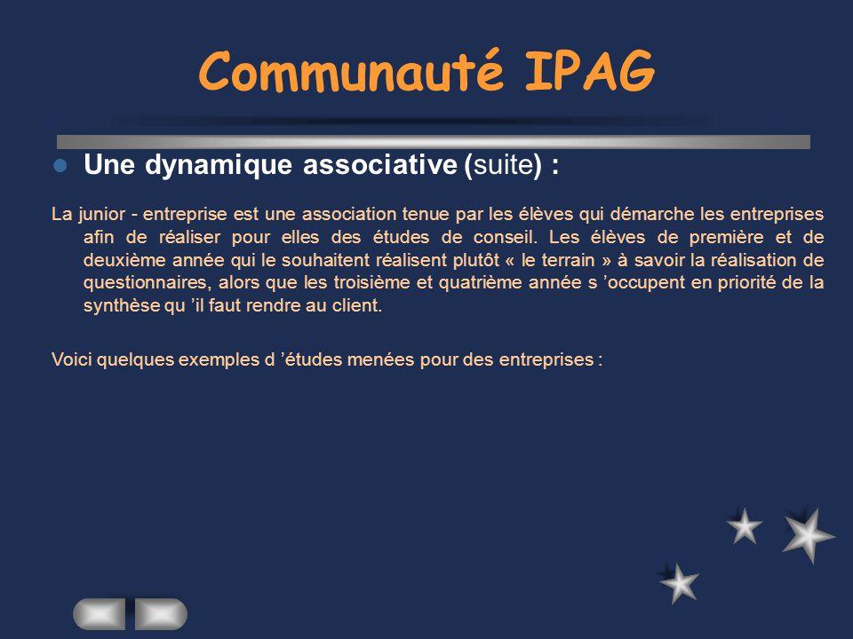 Communauté IPAG Une dynamique associative (suite) :