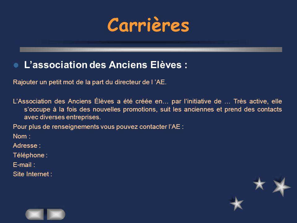 Carrières L'association des Anciens Elèves :
