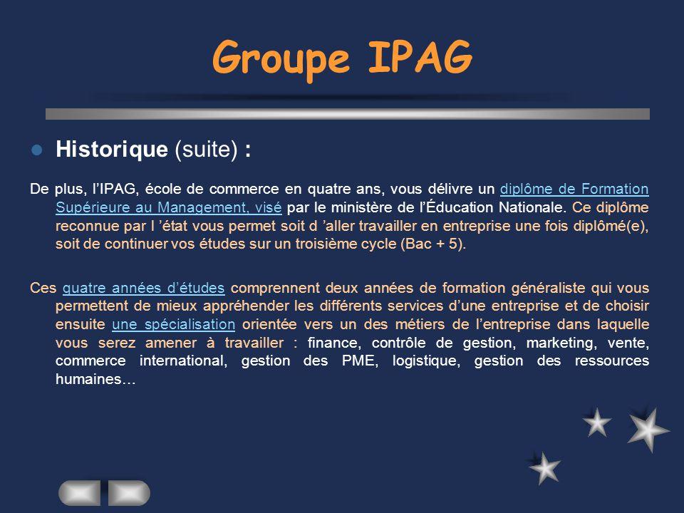 Groupe IPAG Historique (suite) :