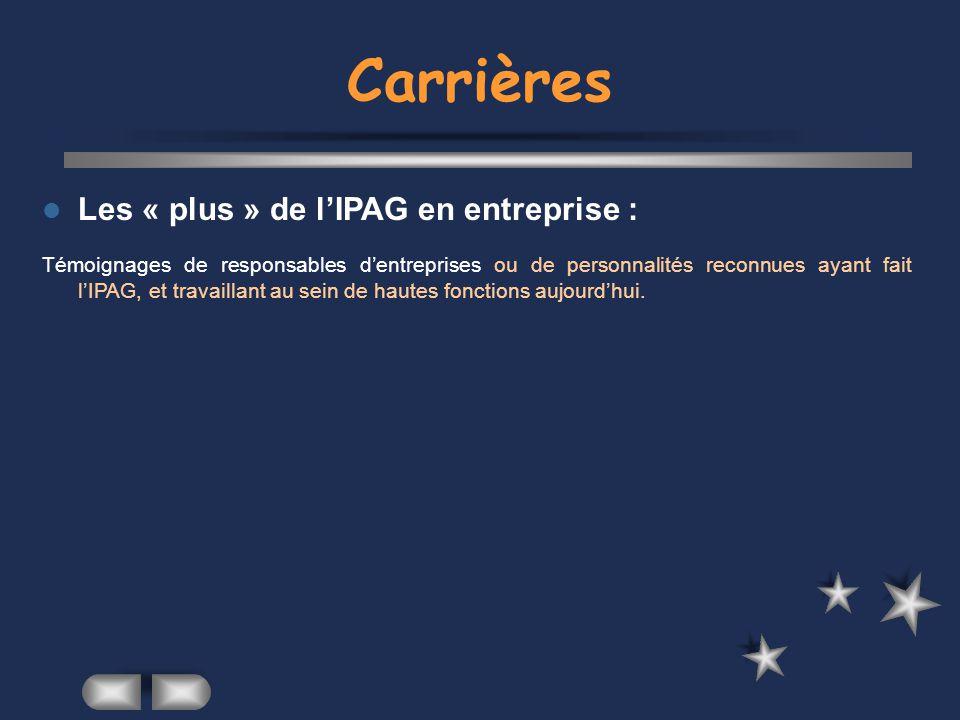 Carrières Les « plus » de l'IPAG en entreprise :