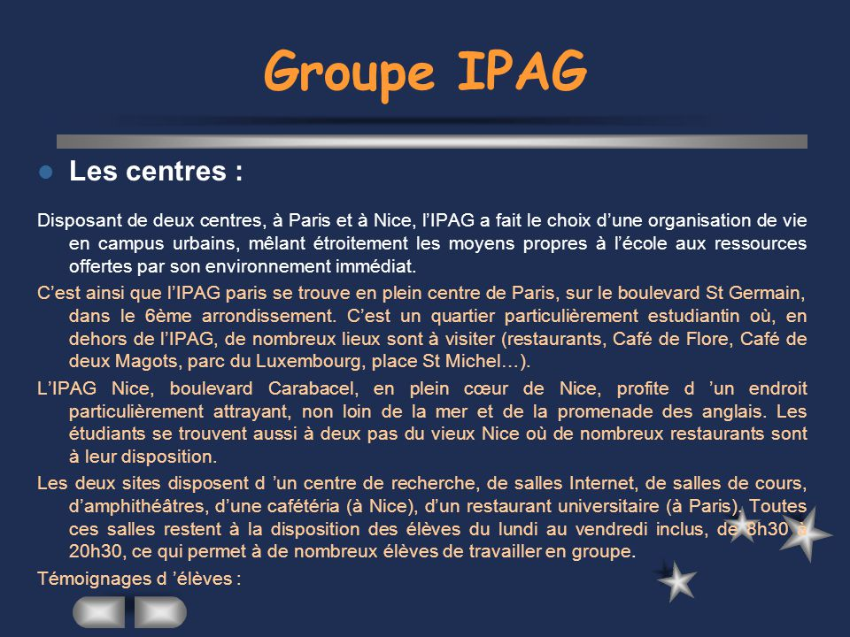 Groupe IPAG Les centres :