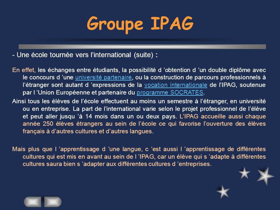 Groupe IPAG - Une école tournée vers l'international (suite) :