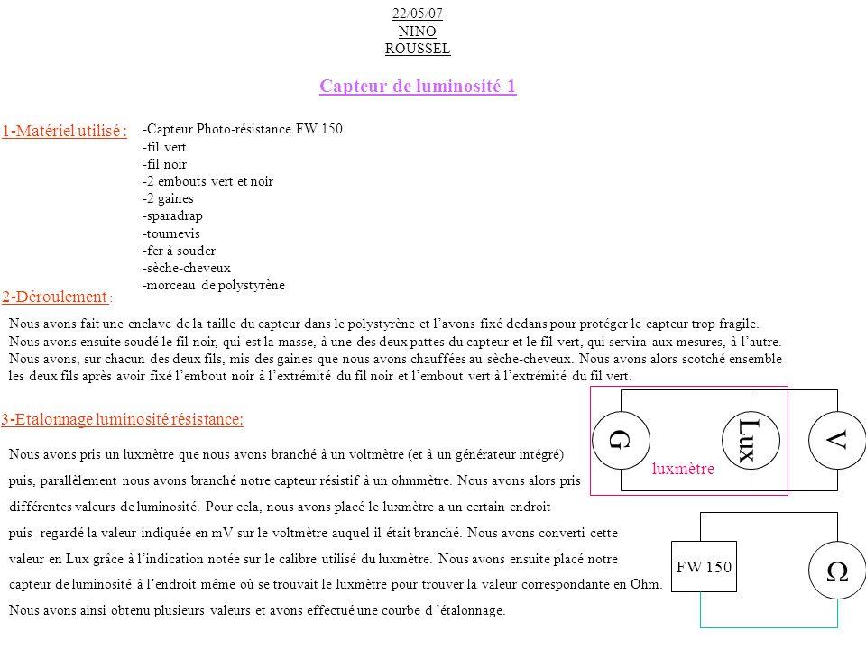 3-Etalonnage luminosité résistance: