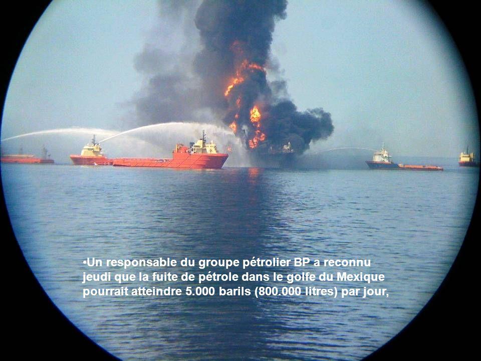 Un responsable du groupe pétrolier BP a reconnu jeudi que la fuite de pétrole dans le golfe du Mexique pourrait atteindre 5.000 barils (800.000 litres) par jour,