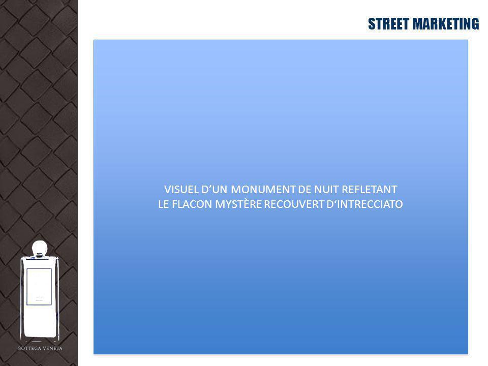 STREET MARKETING VISUEL D'UN MONUMENT DE NUIT REFLETANT