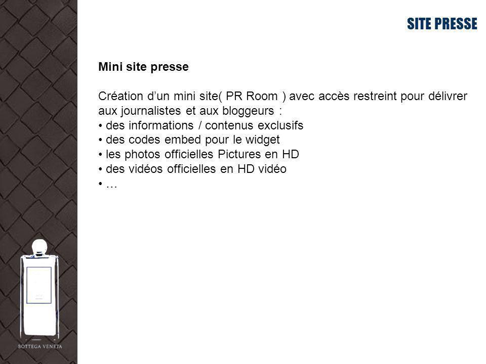 SITE PRESSE Mini site presse