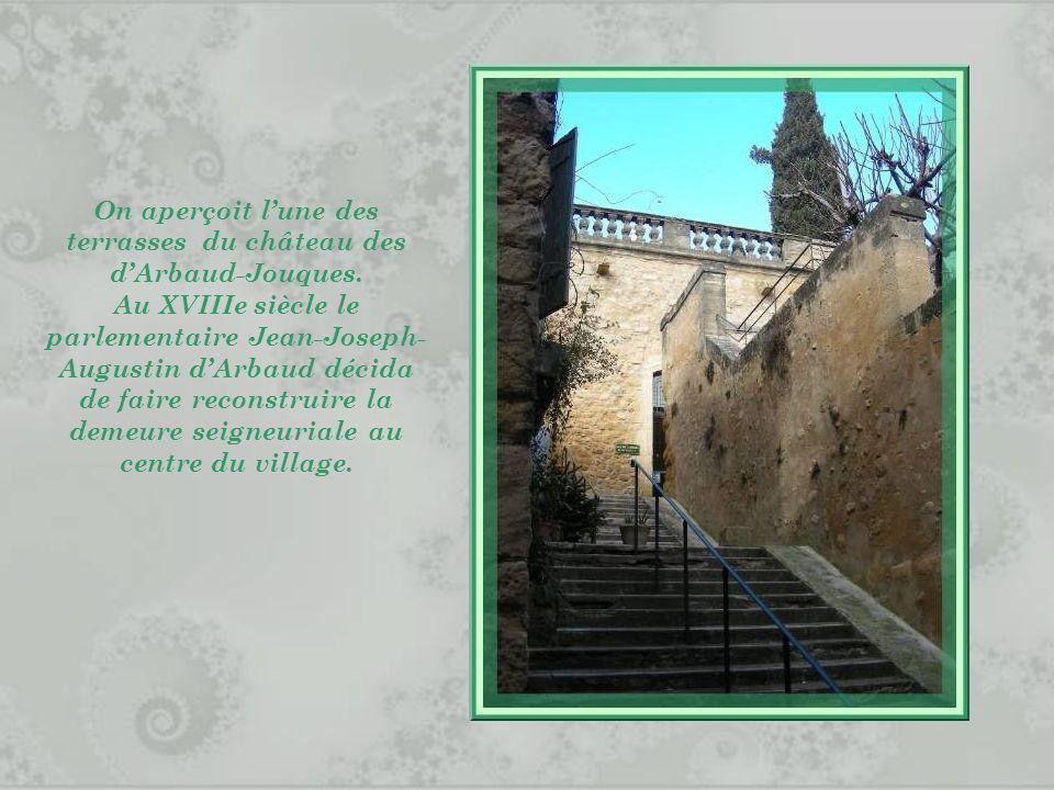 On aperçoit l'une des terrasses du château des