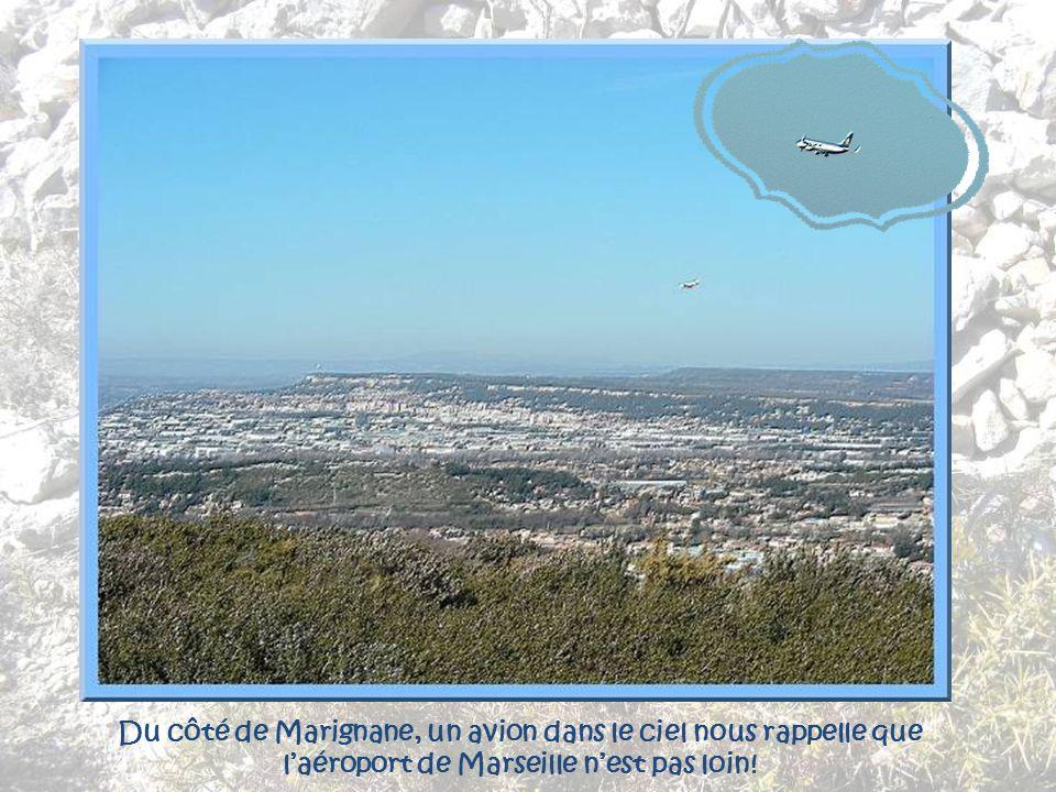 Du côté de Marignane, un avion dans le ciel nous rappelle que l'aéroport de Marseille n'est pas loin!