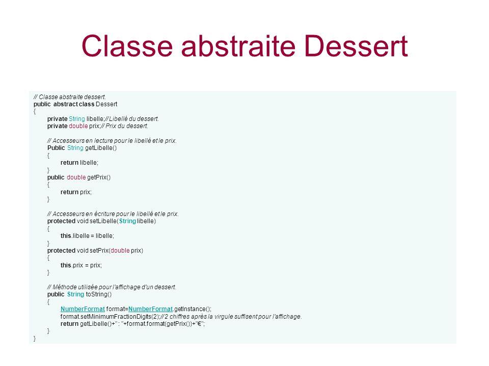 Classe abstraite Dessert
