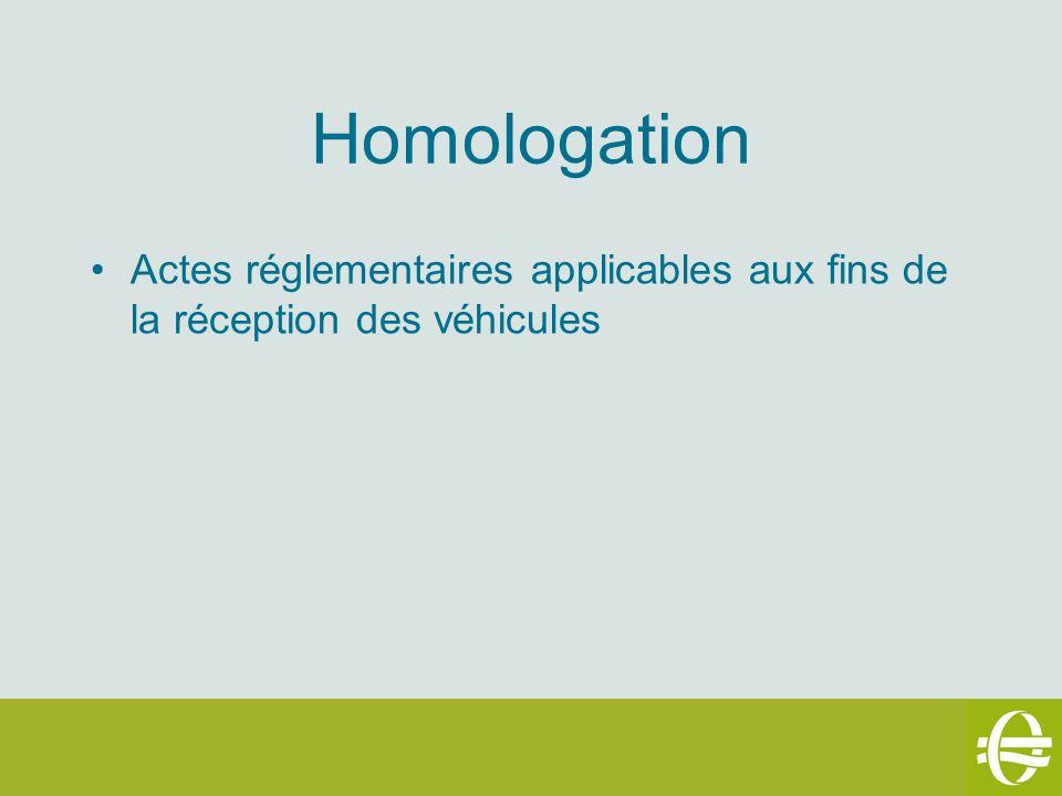 Homologation Actes réglementaires applicables aux fins de la réception des véhicules