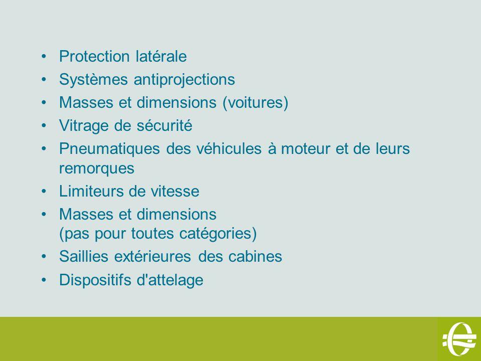 Protection latérale Systèmes antiprojections. Masses et dimensions (voitures) Vitrage de sécurité.