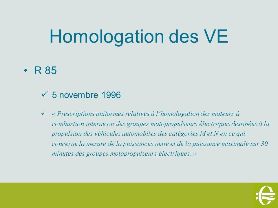 Homologation des VE R 85 5 novembre 1996