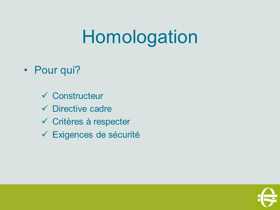 Homologation Pour qui Constructeur Directive cadre
