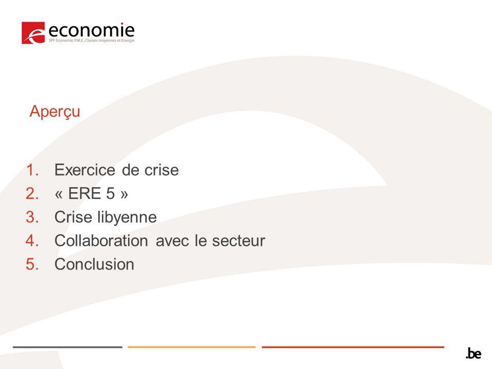 Aperçu Exercice de crise « ERE 5 » Crise libyenne Collaboration avec le secteur Conclusion