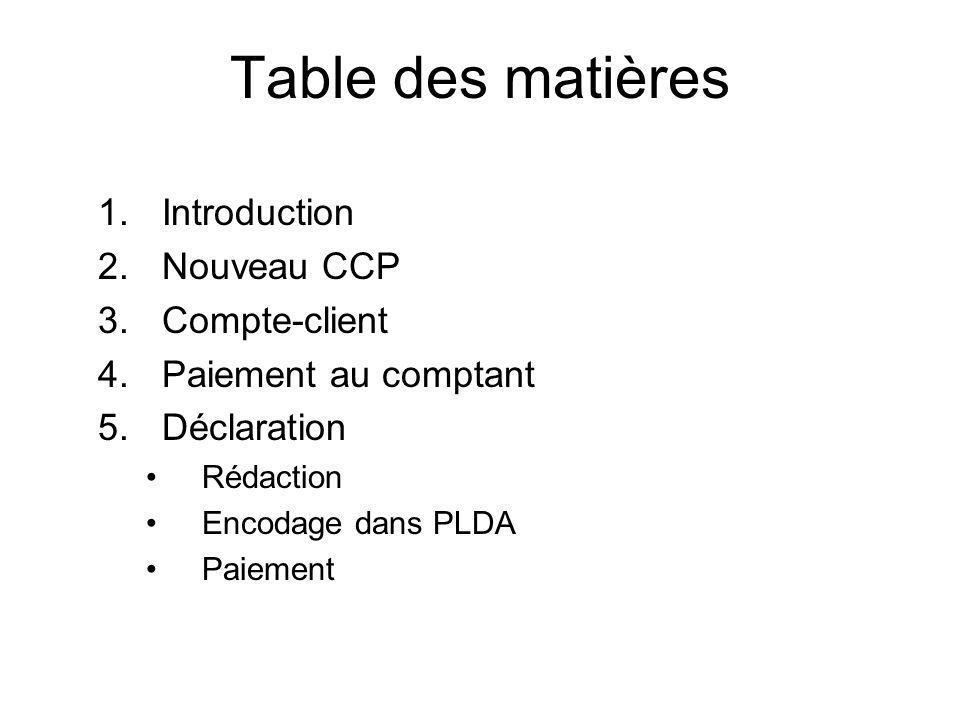 Table des matières Introduction Nouveau CCP Compte-client