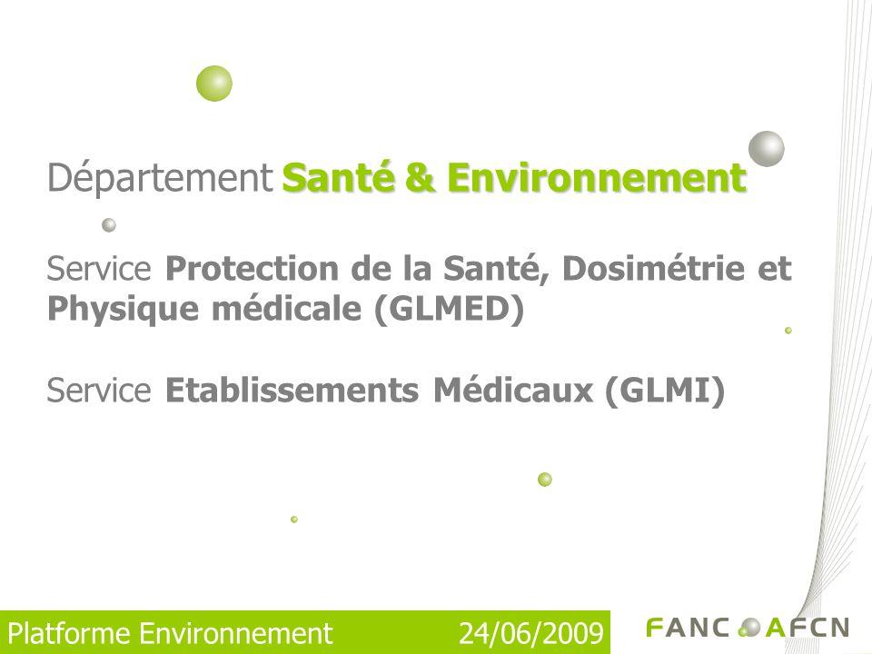 Département Santé & Environnement Service Protection de la Santé, Dosimétrie et Physique médicale (GLMED) Service Etablissements Médicaux (GLMI)
