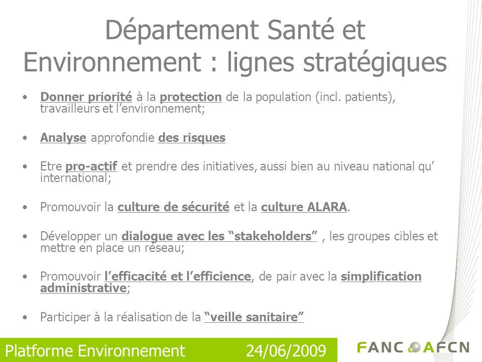 Département Santé et Environnement : lignes stratégiques